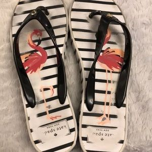 kate spade Shoes - Cute flamingo Kate Spade wedge flip flops